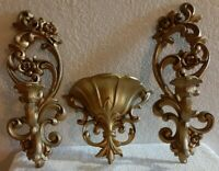 Pair Home Interior Gold Wall Sconce Candle Holders and Vase Ornate chic Floral