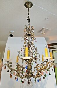 Large Rock Crystal and Colored Crystal Schonbek Eight Light Genesis Chandelier