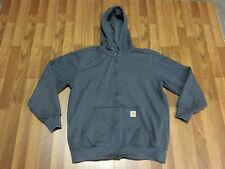 MENS LARGE - Carhartt 100614 Unlined Rancher Work Hooded Sweatshirt Gray