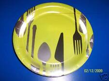 "DesignWare Dinner Hour Cutlery Spoon Fork Knife Party Green 7"" Dessert Plates"