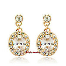 18k Gold Plated Made with Swarovski Crystal Oval Drop Bridal Earring XE110