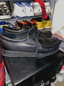 Clarks Originals Wallabee Rubber Sole Black Leather Shoes Boot Men's Size 10M