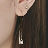 TPD 14K Solid Yellow Gold a Water Drop Long Threader Dangle a Pair of Earrings