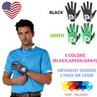 Mens Golf Gloves Pair or 2 Pack Both Hand Black Gray Left Right Hand Pr Lh Rh US