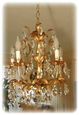Vintage Gilt Tole Italian Gilded Chandelier With 5 Light