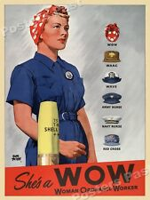 1942 She's a WOW - Woman Ordnance Worker Vintage Style WW2 Poster - 24x32