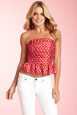 Juicy Couture Polka Dot Bustier Top Red White Arianna Crop 4  $158