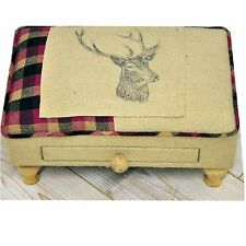 Rectangular Beige and Pink Stag Footool with Drawer MIN2449