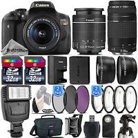 Canon EOS Rebel T6i / 750D 24.2 MP DSLR Camera + 18-55mm STM LENS + 75-300 III