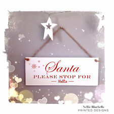 103 PERSONALISED SANTA STOP HERE HANGING CHRISTMAS SIGN - FATHER CHRISTMAS STOP