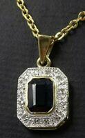Exquisite 9ct Yellow Gold AUSTRALIAN DARK BLUE SAPPHIRE & Diamond Pendant