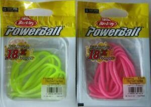 """2 - Berkley Powerbait Floating Trout Worm - 15/Ct - 3""""- Chartreuse & Bubblegum"""