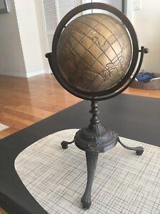 "Vintage Antiquebrass world  Globe Vintage  Globe With Solid  Bronze stand 15"""