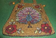 Antique Vintage Beaded Purse Reticule Bag Peacock Design
