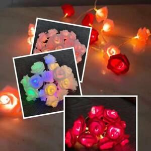 10/20/40/80 LED Rose Flower Light String Wedding Christmas Party Garden Decor