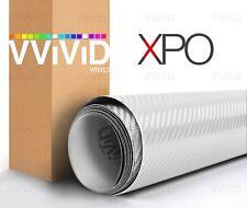 White 3d carbon fiber vinyl car wrap VViViD XPO cast bubble free DIY choose size