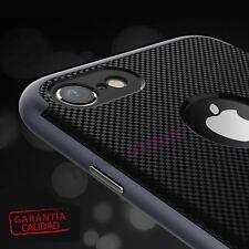 "Funda carcasa bumper rígido // goma cuadros fibra compatible iPhone 7 4.7"" Negra"