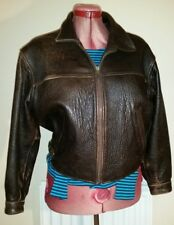 MISS SELFRIDGE Brown REAL LEATHER Antique JACKET M uk10eu36us6 Chest c44in c112c