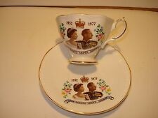 QUEENS SILVER JUBILEE 1952-1977 CUP & SAUCER FINE BONE CHINA MADE IN ENGLAND