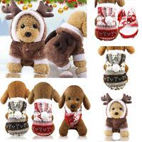 Cute Dog Puppy Christmas Warm Hoodie Costumes Coat Clothes Pet Cat Apparel Shirt