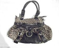 Goth rockabilly leopard print medium sized hand bag with black pleather detail