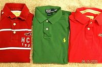 Men's Lot of 3 Shirts Short Sleeve HOLLISTER & RL Polo All Size Medium