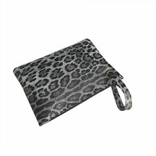 CLUTCH BAG PURSE ANIMAL PRINT WITH WRIST STRAP LINED INTERIOR WRISTLET GREY