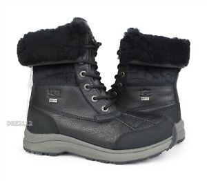UGG Adirondack III Velvet Croc Black Leather Fur Boots Womens Size 7 *NIB*