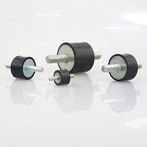 Gummipuffer Typ A Ø6-200mm M3-M20 in Hart, Mittel oder Weich Gummi-Metall-Puffer