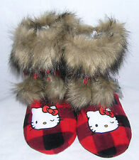 Hello Kitty Slipper Boots Red Plaid NICE GIFT FREE USA SHIPPING SMALL 5-6