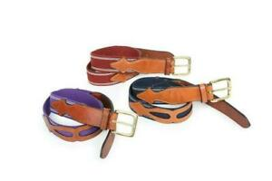 Fontwell Belt Riding 90cm - Stretch with Leather Cut Out Detail - Navy & Tan