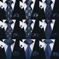 USA Mens Ties Dark Blue Navy Blue Necktie Classic Silk Animal Solid Tie Set