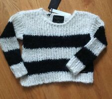 finger in the nose girls black stripes sweater size 4/5 NWT