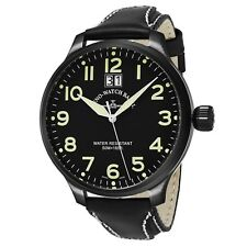 Zeno Men's SOS Black Dial Black Leather Strap Swiss Quartz Watch 6221-7003-BKA1