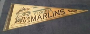 Florida Marlins 1993 Inaugural Year Felt Pennant ( Stained )