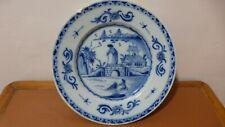 DELFT. Assiette faience camaieu XVIIIème Décor chinois.Antique Delft plate.2...