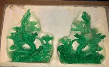 Dragon Statue Set Bookend Green Decoration Asian