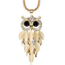 Women Fashion Rhinestone Crystal Owl Pendant Long Sweater Chain Choker Necklace