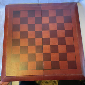 Vintage Cardinal Industries Wood Chess/Checkers Set & Pieces Foldaway Redwood