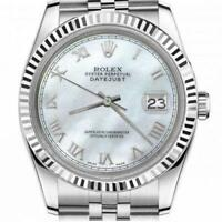 Ladies Rolex 26mm Datejust Stainless Steel White MOP Mother Of Pearl Roman Numer