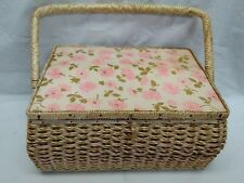Vintage Dritz Sewing Basket Woven Straw  50's Floral Pink Satin 6063 Japan Large