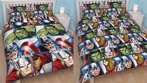 Marvels Avengers Shield Double Bedding Duvet Set Quilt Cover Bed Sheets