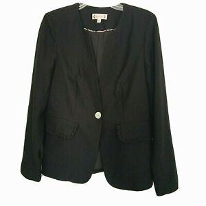 Nanette Lepore Sz 8 Women's Black Jacket Split Collar Single Button Blazer NWT