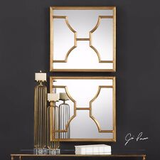 """TWO NEW 24"""" ANTIQUED GOLD LEAF METAL MODERN FRAMES WALL ART MIRRORS"""