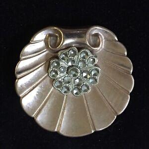 Vintage Antique Art Nouveau Pin Brooch Pendant 20s-30s Estate Copper Deco Flower