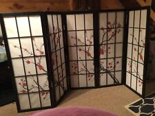 Asian Large 5 Panel Room Divider Cherry Blossom Tree