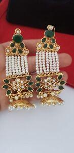 Indian Bollywood Gold Tone Big  Handcrafted Menakari Jhumka Bell Bali Earrings