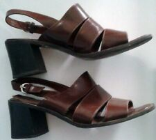 Vintage Brown Strappy Etienne Aigner Chunky Heel Sandal 80s size 7