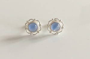 New 925 Sterling Silver & Blue Onyx frill edge Stud Earrings - boxed