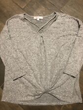 Moa Moa Girl's Soft Knit Top Gray Size Xl Front Knot Criss-Cross